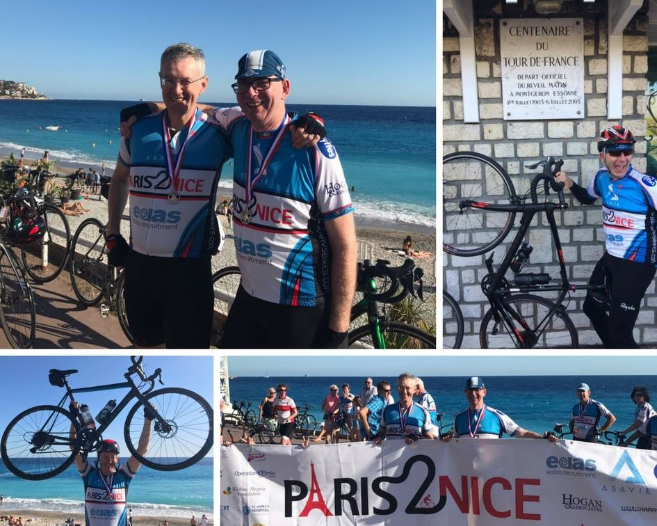 They did it! 750km in 6 days @Paris2Nice, fundraising for #Cancer services @stjamesdublin Well done to Prof Meaney and Fintan Cooney <br>http://pic.twitter.com/Ru5uQTGpUf
