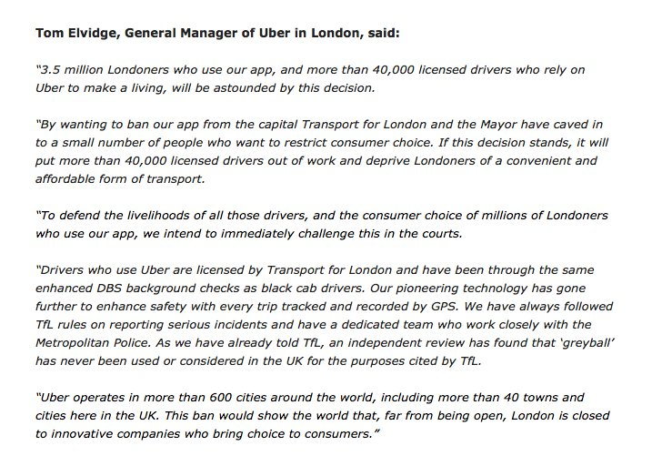 Uber licence: What does the TfL ban mean for Uber? - Verdict