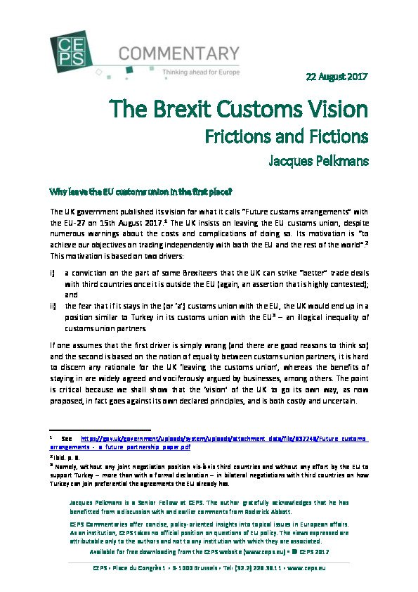 PDF Publication - The Brexit Customs Vision  https:// goo.gl/H2S6eY  &nbsp;   #Brexit #publication <br>http://pic.twitter.com/gOfPLPY44S