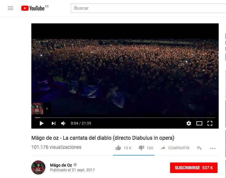 Mägo De Oz Oficial On Twitter Récord Histórico 100 000 Visitas En 12 Horas De La Cantata Del Diablo Https T Co Pllvy4m3ay