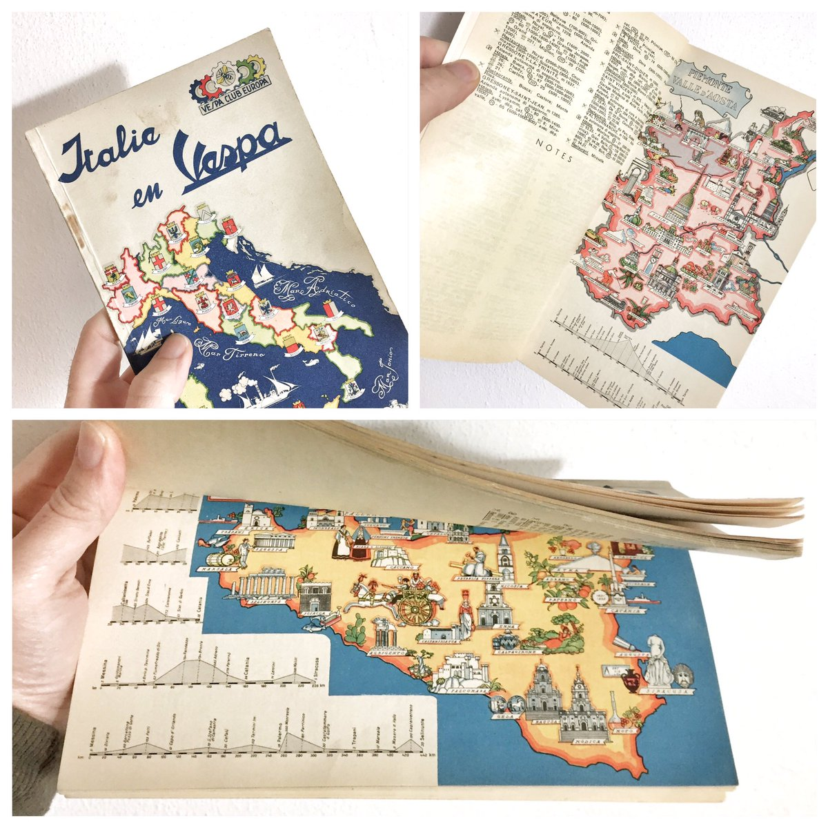 1957 #beautiful guide to #travel in #italy with your #Vespa! #piaggio #vintage #cartography #italia #mapping #maps #travelblogger<br>http://pic.twitter.com/L6RtFY7IV0