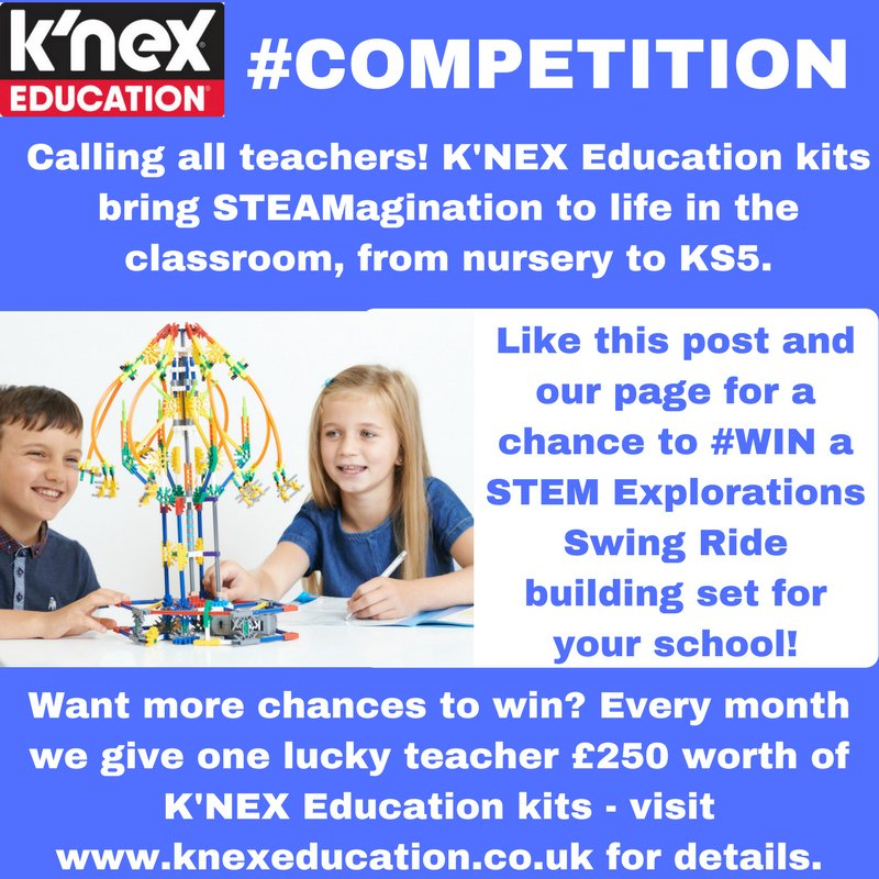 Hello #Teachers! This #FreebieFriday you could #WIN your school a K&#39;NEX STEM Explorations Swing Ride Building Set! RT+Foll by 28.09 #edchat<br>http://pic.twitter.com/Xedoyd7yQh
