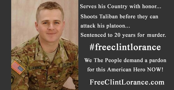 @POTUS How about a #pardon for this #Patriot and others in Leavenworth due Obama&#39;s BS rules of engagement?  Waiting.... @clintlorance<br>http://pic.twitter.com/CWB2IajDXj