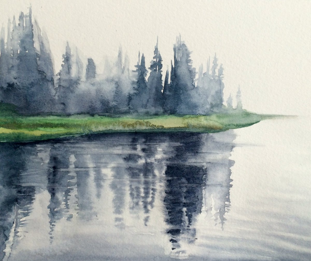 Reflection lake. #watercolour #mountrainier #pacificnorthwest #landscapepainting #paintings #BigArtBoost #watercolorpainting #artwork #lake <br>http://pic.twitter.com/MKOYOhTsSI