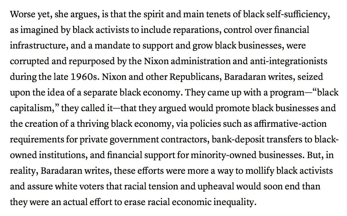 Black economic independence, @MehrsaBaradaran argues, can't come without government backing. But tread carefully. https://t.co/AIz3tmdiP7