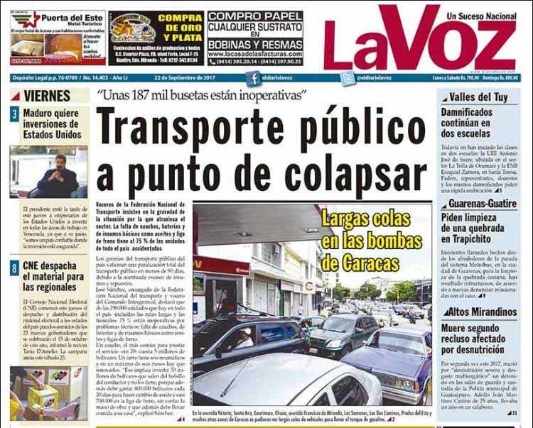 #22sept #Venezuela Quotidien LaVoz : #pénurie de carburants à #Caracas les transport publics bientôt paralysés.pic.twitter.com/tVIw7Hg8wE
