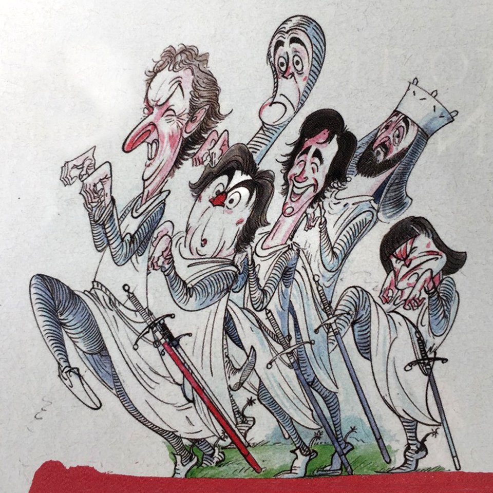 Great @geraldscarfe illustration of @EricIdle @JohnCleese @TerryGilliam @PythonJones @NotMichaelPalin &amp; #grahamchapman in #holygrail<br>http://pic.twitter.com/elv06IcYL3