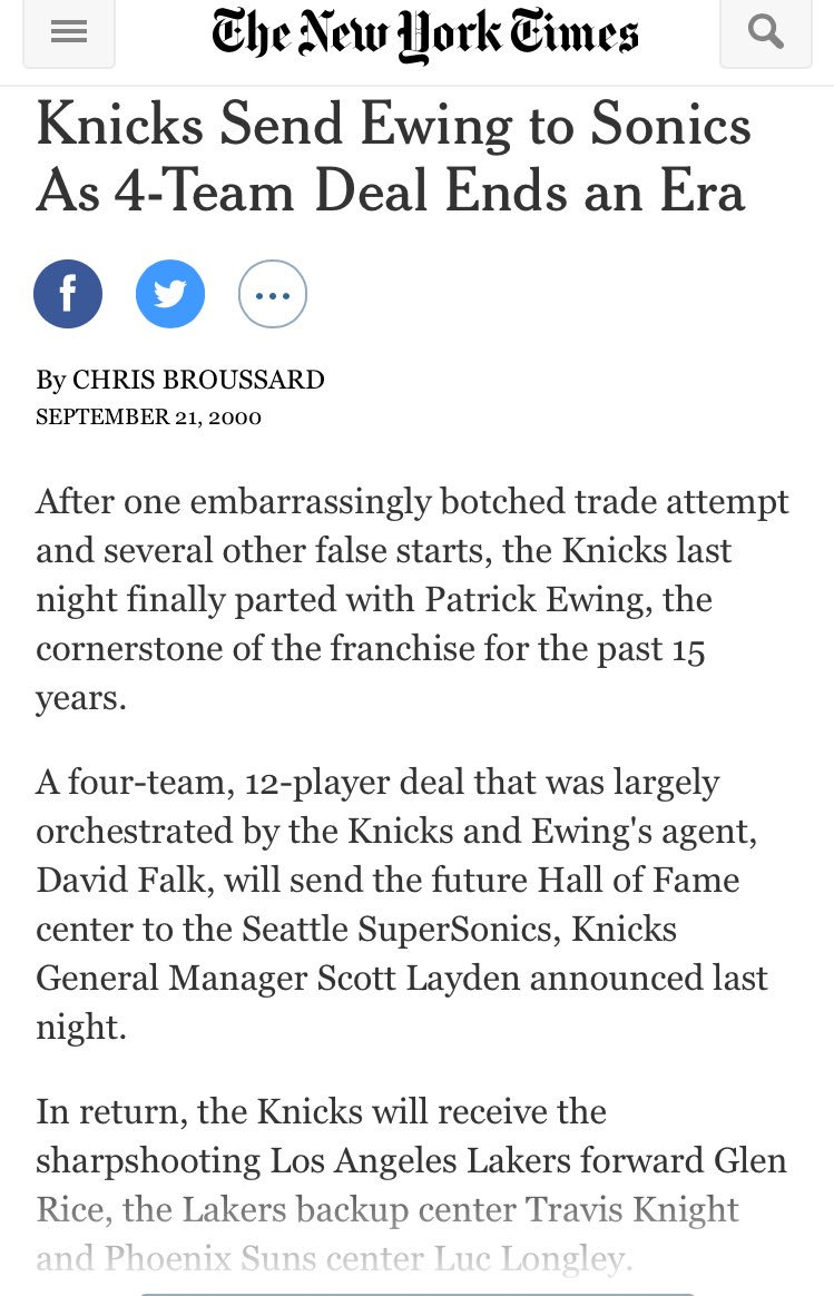 17 years ago, the Knicks traded Patrick Ewing...
