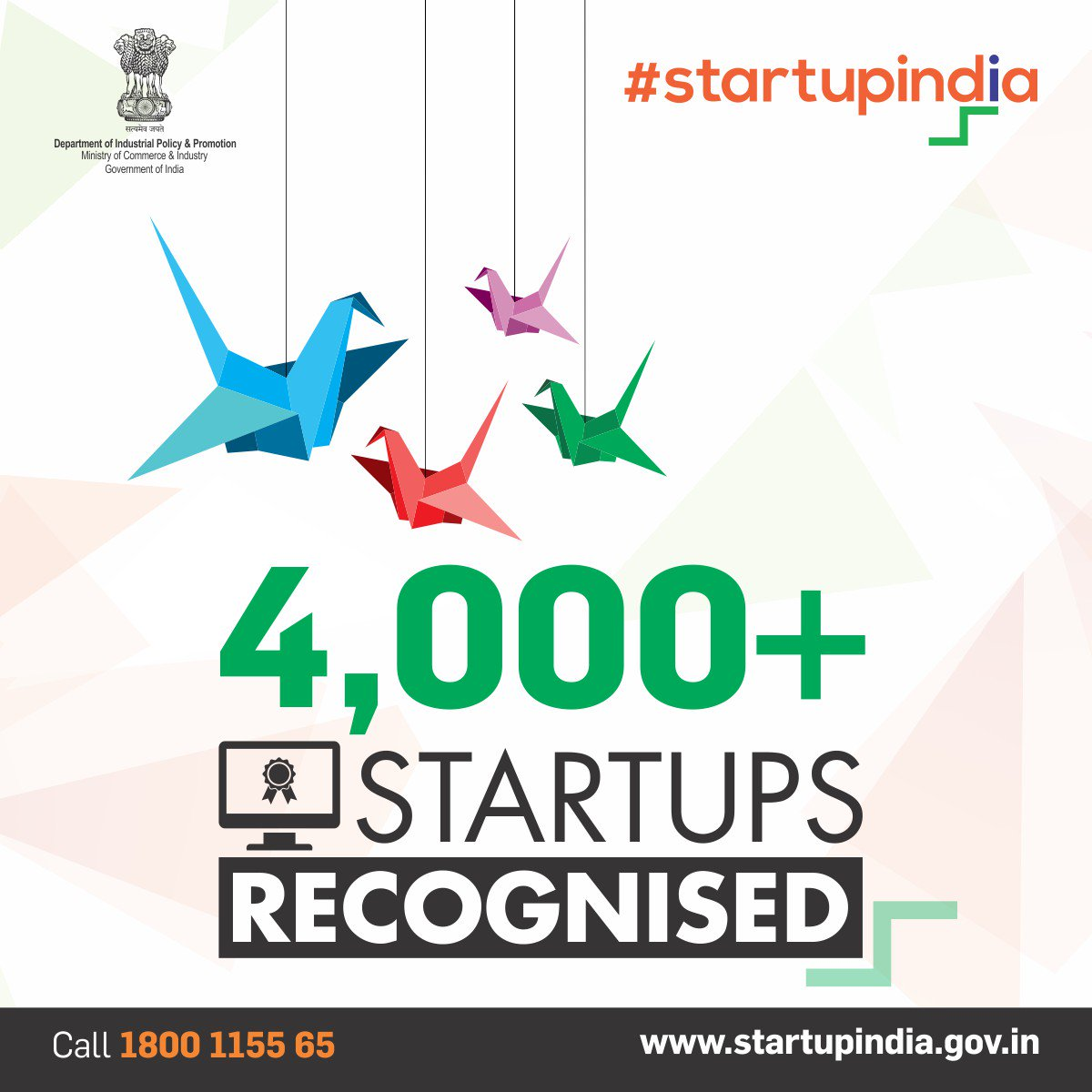#StartupIndia has recognised over 4,000 #startups. Get your #startup  recognised at  http:// bit.ly/2omLwLE  &nbsp;   @CimGOI @sureshpprabhu @DIPPGOI<br>http://pic.twitter.com/RuZzhYKdjo