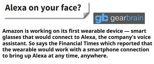 #Amazon #wearable #glasses which would link to #Alexa  https:// goo.gl/7csKmS  &nbsp;   #smartglasses #technews #wearabletech #IoT<br>http://pic.twitter.com/g0JR26yWk1