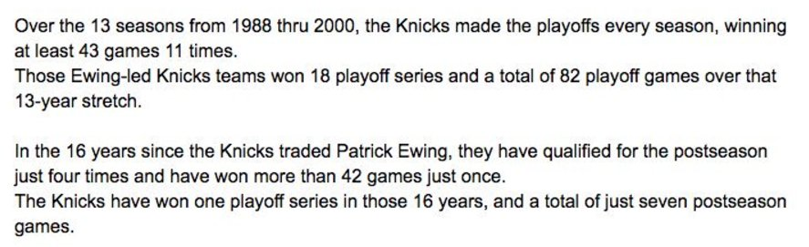 The Knicks record WITHOUT Patrick Ewing has been dramatically different than their record WITH Ewing: