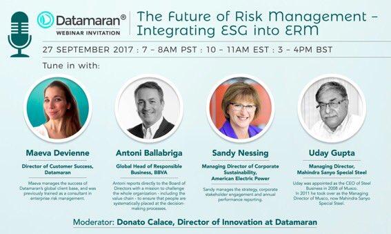 Don&#39;t miss the webinar: The New Realities of Risk Management - Integrating #ESG Into #ERM, Sept 27.   http:// datamaran.com/risk-webinar-r  &nbsp;  … @Marjella_Alma<br>http://pic.twitter.com/dsELGQGKww