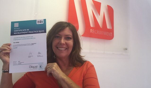 @LindsayREC @RecruiterMag Congratulations to Kim Safaty at our Sittingbourne office for passing her Cert in Recruitment Practice.