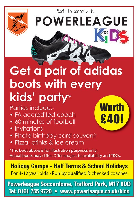 Get a FREE pair of Adidas boots with every kids #party booked at Powerleague Trafford Soccerdome #football #invites #food - Tel 0161 7559720<br>http://pic.twitter.com/XRtsbdC5uj