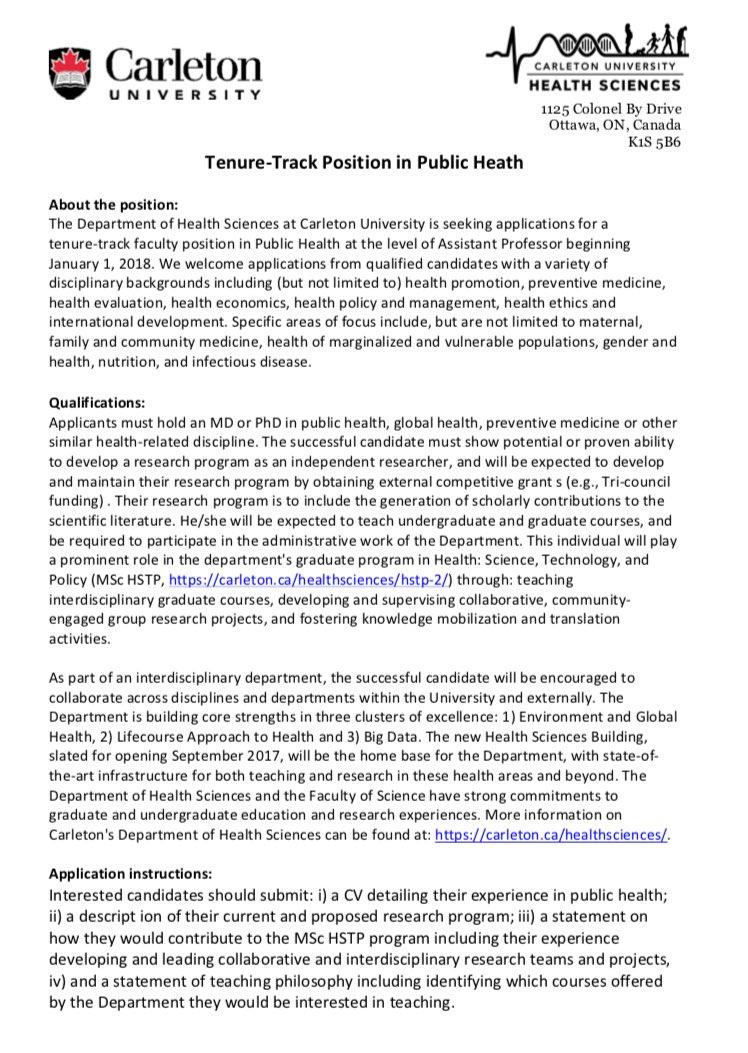 Cu Health Sciences On Twitter Were Hiring A Public Health