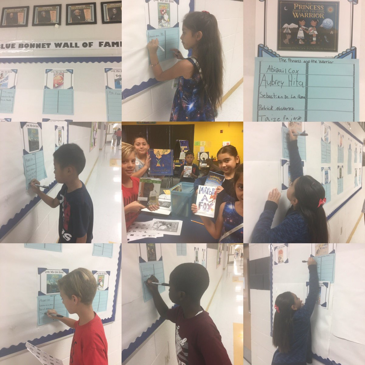 Cougar Blue Bonnet Reading Club signing their name on our Reading Wall of Fame. @TBABooks #SISD_READS #wonder  <br>http://pic.twitter.com/jSCbskVqRj