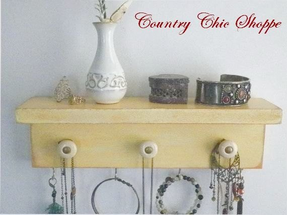Cottage Chic Necklace Organizer with Decorative Knobs. Availa…  http:// etsy.me/2rf8pWO  &nbsp;   #decorativeknobs #WallDisplay<br>http://pic.twitter.com/hCoCCCbHAP