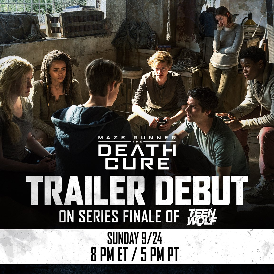 Tune in to the series finale of @MTVTeenWolf this Sunday, 9/24 at 8 PM ET / 5 PM PT for the new #DeathCure Trailer. https://t.co/Q8qBgQttkm