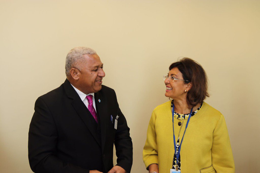 .@FijiPM pleasure working together on #climatechange towards #Zerohunger in #SIDS #UNGA  @FAONewYork<br>http://pic.twitter.com/h7EETYeLpG