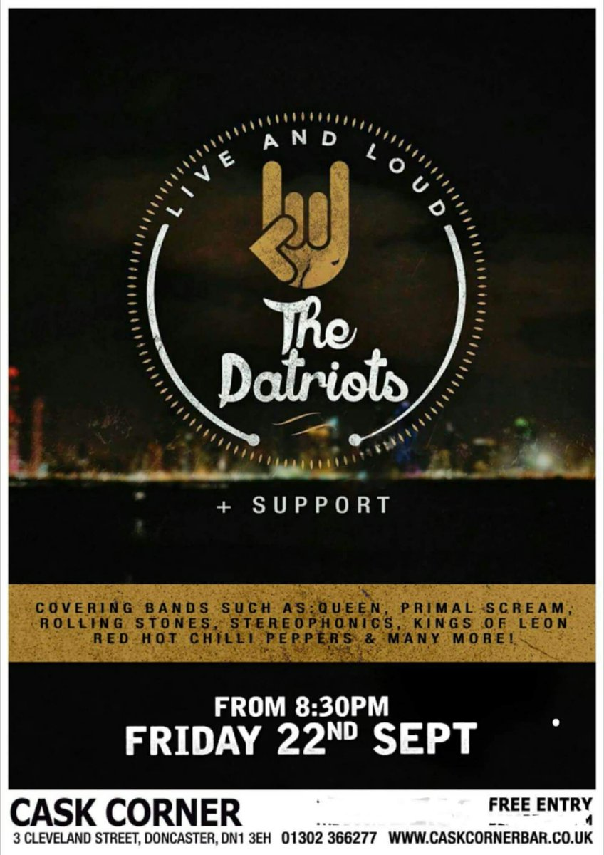 Tonight we&#39;re rocking with THE PATRIOTS from 9.30pm FREE ENTRY #doncasterisgreat #doncaster #southyorkshire <br>http://pic.twitter.com/SaQ2htHA2s