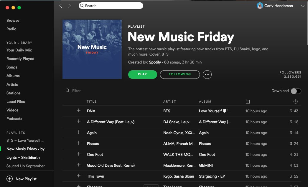 Oh look who&#39;s first on @Spotify&#39;s #NewMusicFriday?! And the cover photo too!   I look forward to this playlist every week! Congrats BTS! <br>http://pic.twitter.com/l1IWyfhWW6