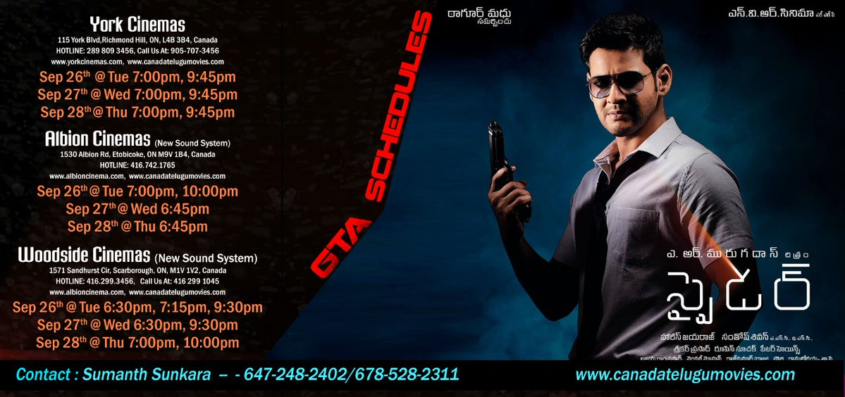#Spyder Toronto theaters and showtimes #Canada   Premieres on Sep 26th  @urstrulyMahesh<br>http://pic.twitter.com/u3YV84RGSk