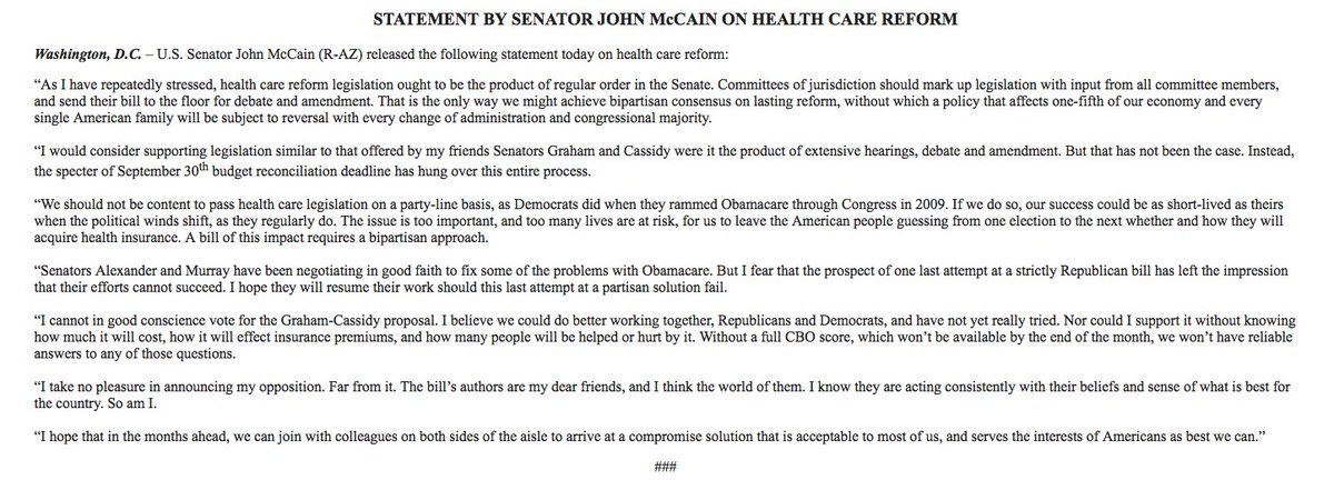 """John McCain kills the latest GOP health care plan: 'I cannot in good conscience vote for the Graham-Cassidy proposal."""""""