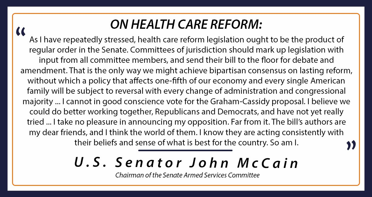 I cannot in good conscience vote for Graham-Cassidy. A bill impacting so many lives deserves a bipartisan approach. https://t.co/2sDjhw6Era