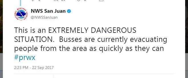 BREAKING: NWS San Juan issues flash flood warning as dam operators report Guajataca Dam in Puerto Rico is failing after Hurricane Maria.