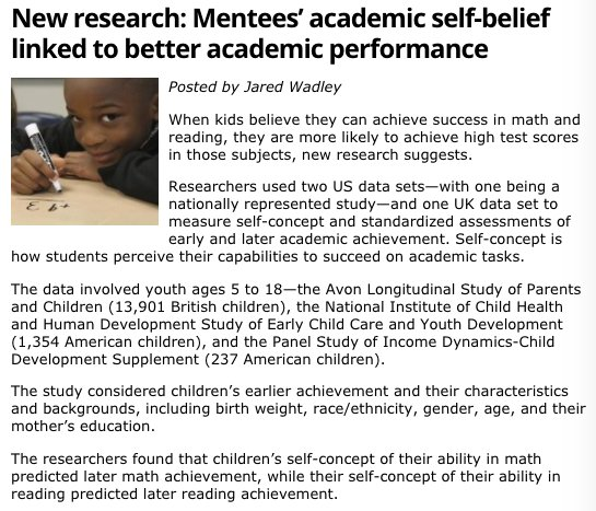 When #mentors encourage #mentees to believe they can do better in math in reading, they do. Read about this study:  https:// buff.ly/2holpSe  &nbsp;  <br>http://pic.twitter.com/wz8fjofkxm