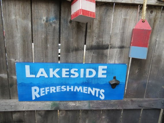 Lakeside Refreshments (w Bottle Opener) #Signs by Glances Back Vintage @McClainDebby. #lake #resort #beach  http:// etsy.me/2iGeuqO  &nbsp;   via @Etsy<br>http://pic.twitter.com/tbHswMdLiD