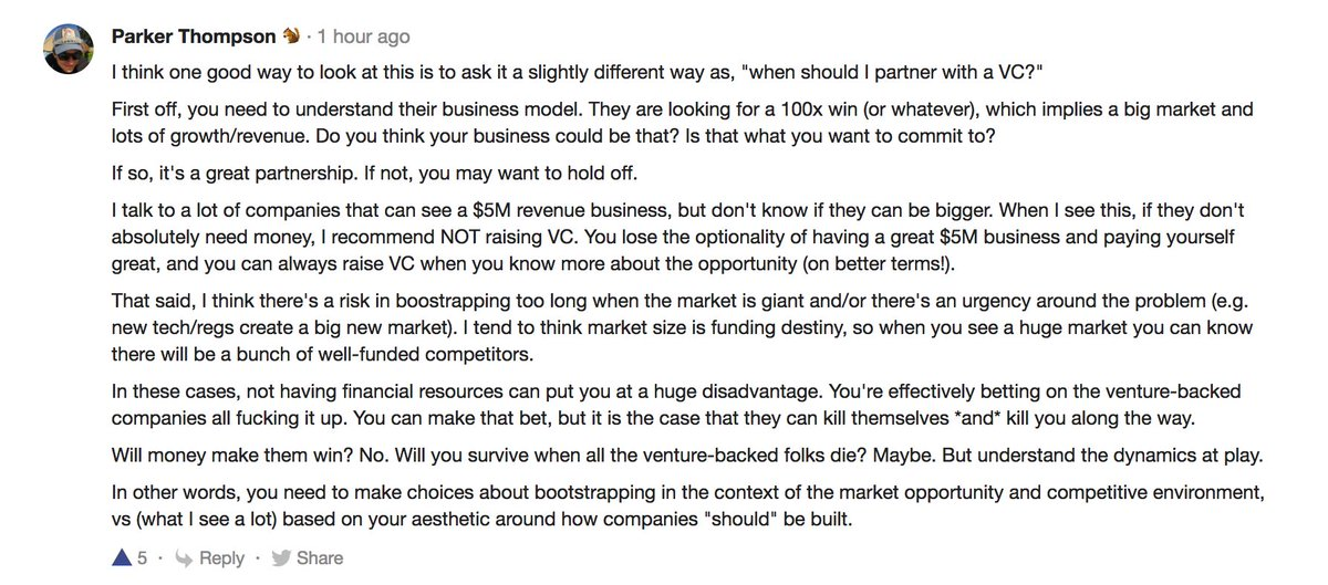 Great answer from @pt on bootstrapping vs VC funding https://t.co/ifayKcHTB2 https://t.co/Wj7O0Sdccz
