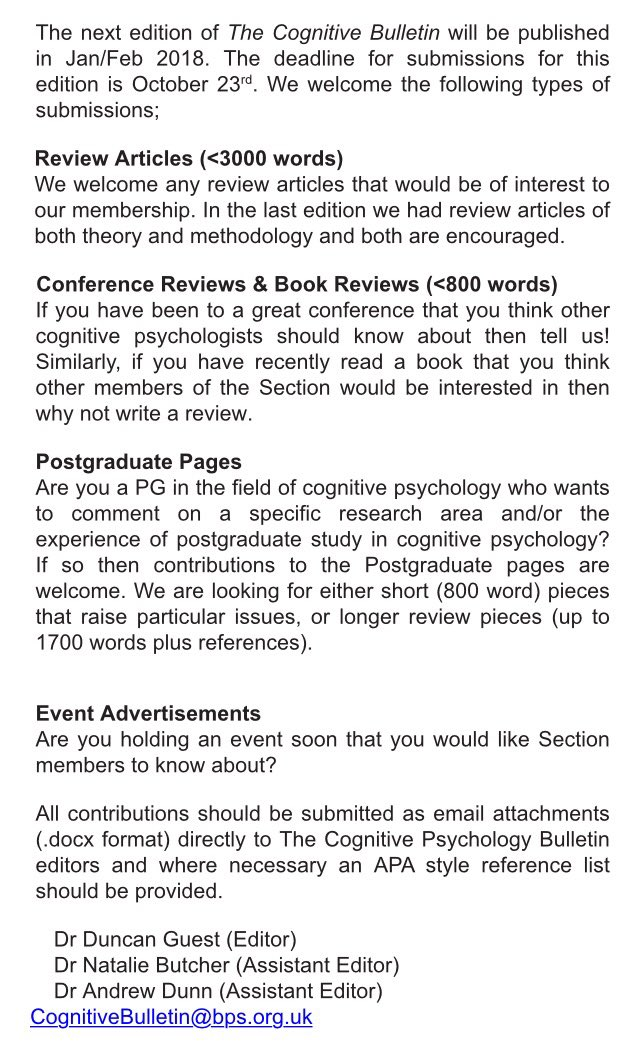 Fancy writing for The Cognitive #Bulletin, sent to all Section members? Submission #deadline: Oct 23rd to CognitiveBulletin@bps.org.uk <br>http://pic.twitter.com/I1ZyXymNMv