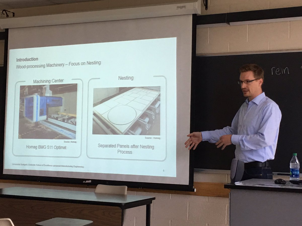 Great presentation by @LenzJuergen @Uni_Stuttgart on &#39;Implementation of Machine Tool Data Analysis in Furniture #Manufacturing&#39; @wvustatler<br>http://pic.twitter.com/bsSUdnxjDR