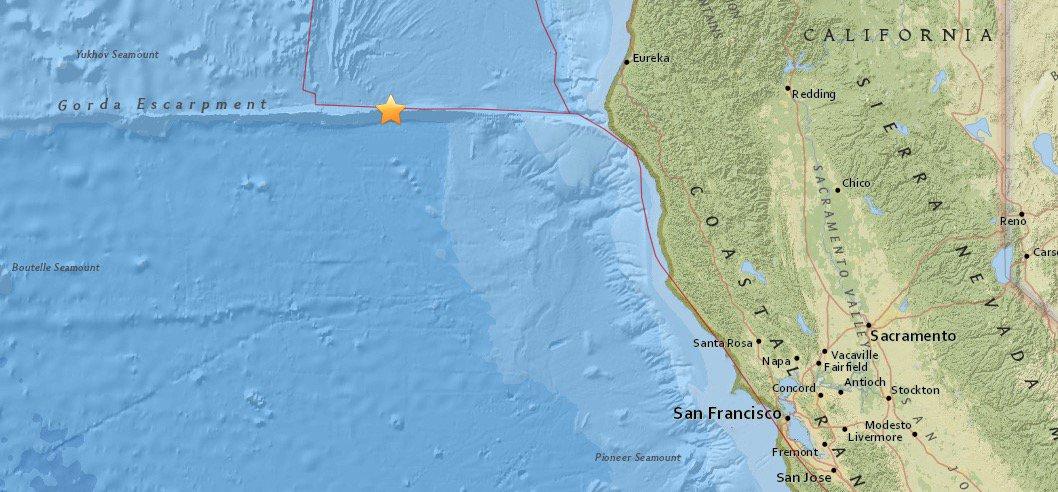 Séisme de magnitude 5,8 sur la côte californienne au nord de San Francisco.