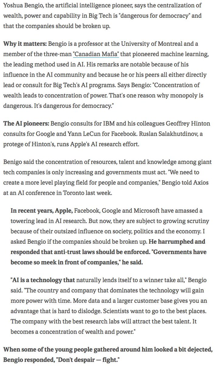 Artificial intelligence pioneer calls for the breakup of Big Tech  https://t.co/0JQsaaStZD