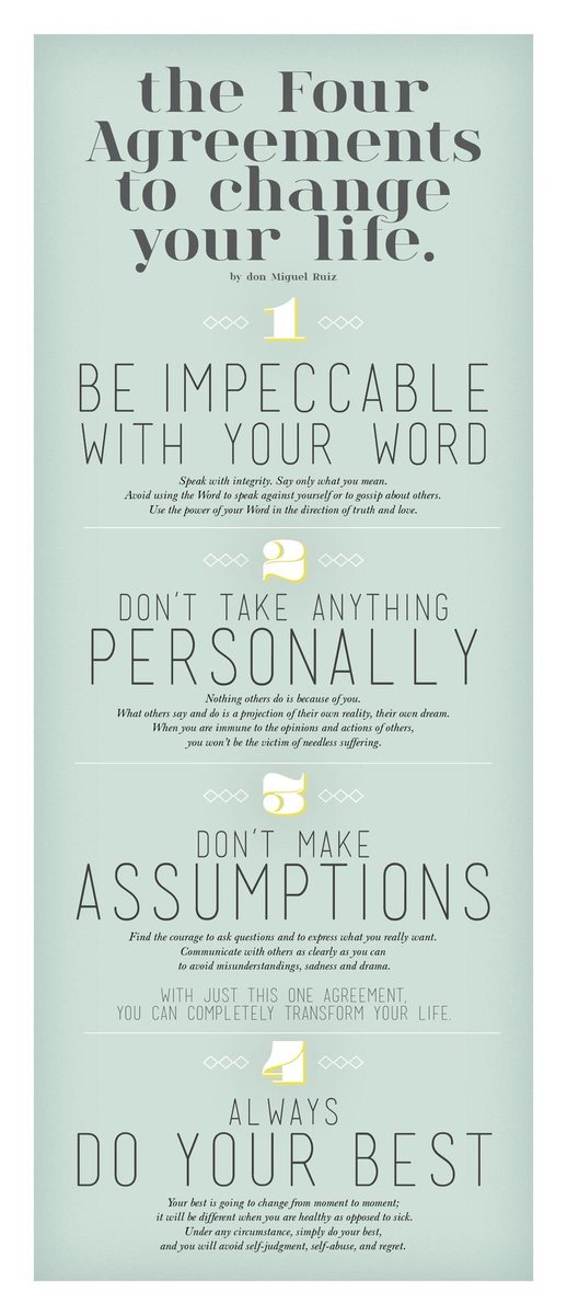 Cynthia Johnson On Twitter The Four Agreements To Live By Be