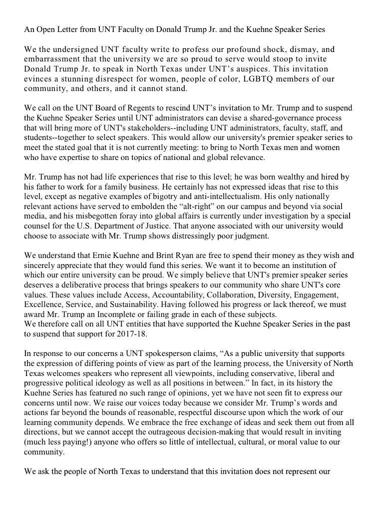 @IvankaTrump @donaldjtRUMPjr @EricTrump @realDonaldTrump @jaredkushner ...87 UNIVERSITY FACULTY DENOUNCE #donaldtRUMPjr