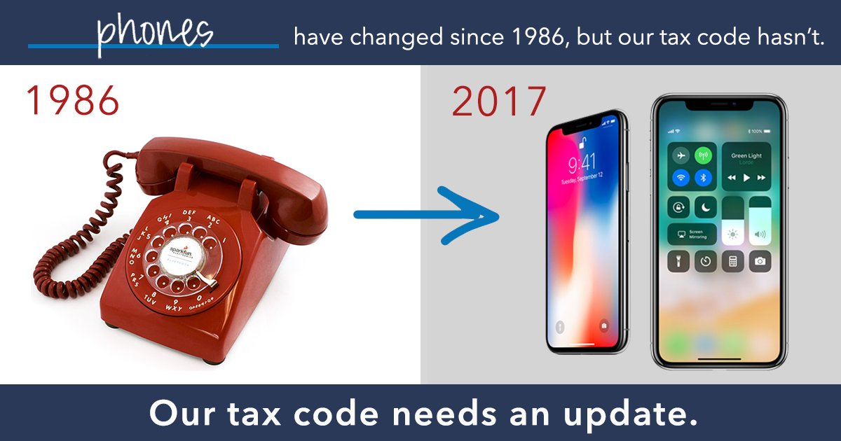 From the dial-up phone to the #iPhone X, our technology has changed but our tax code hasn't. It's time for an update. <br>http://pic.twitter.com/K2RcuzXuvW