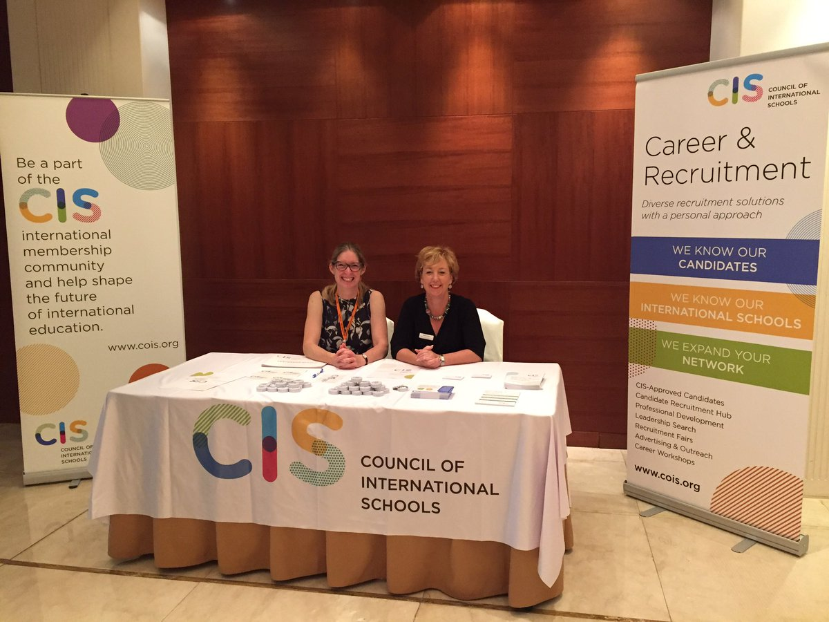 The @CISEducation Career &amp; Recruitment Services team ready to advise on next steps in an #intled career at #CISEARCOSInstitute. Come say hi!<br>http://pic.twitter.com/WUFNMcrdpL
