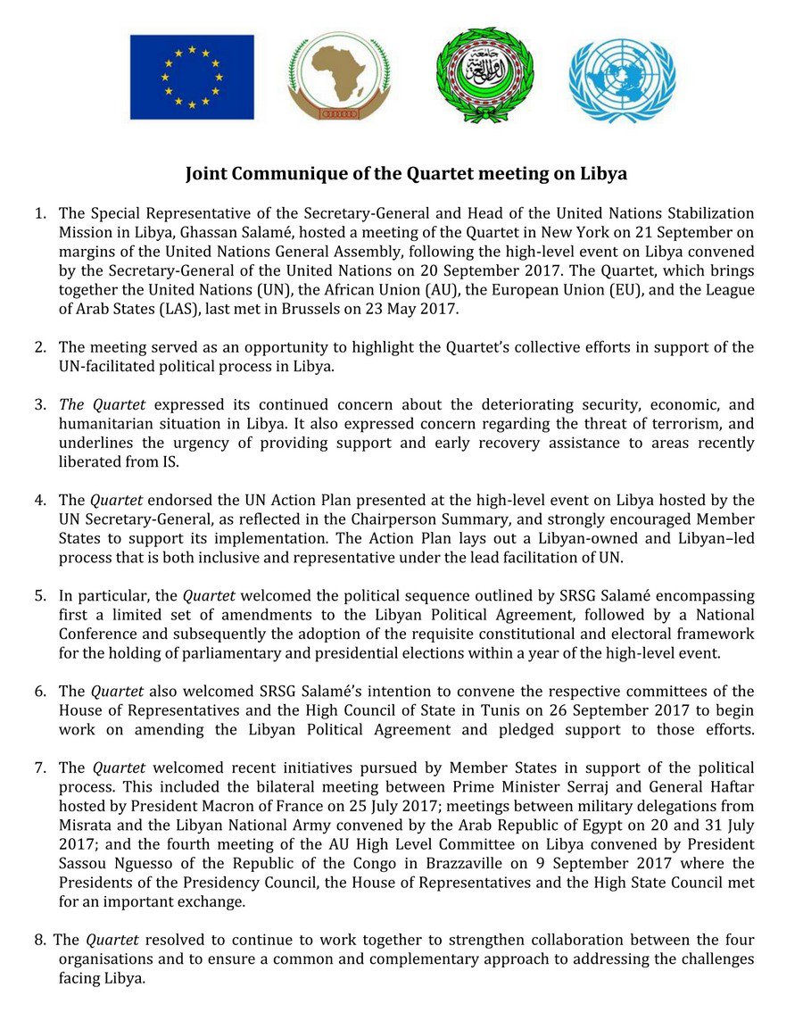Unsmil On Twitter Joint Communique Of The Quartet Meeting On