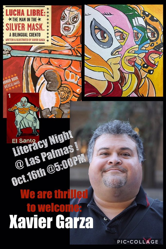 Hey, @LasPalmasStaff! Guess who our guest AUTHOR is for our #LuchaLibre themed Literacy Night? Xavier Garza, @CharroClaus!! #LPEPawsUp <br>http://pic.twitter.com/LJOln1hmQV