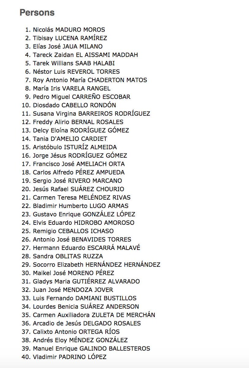 Here is the list of 40 regime criminals of Venezuela sanctioned by #Canada government today. Thank you  @JustinTrudeau @cafreeland<br>http://pic.twitter.com/tIwEyKrA2v