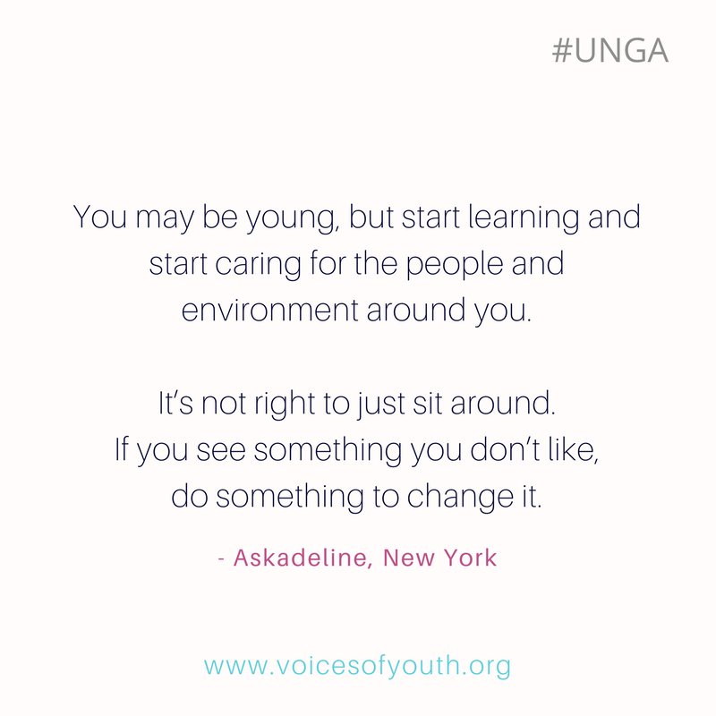 'You have power. You can change the world for the better' Askadeline's inspiring message at #UNGA  #YoOpino @voicesofyouth