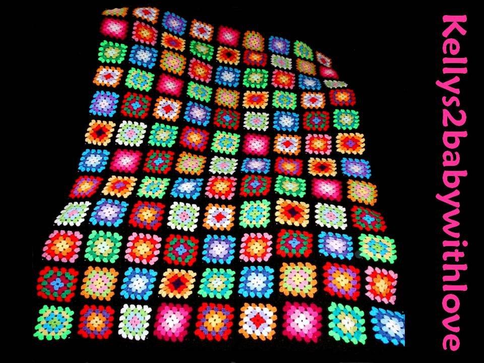 Large Handmade Crochet Black &amp; Multi-Coloured Granny Square Baby Blanket…  http:// etsy.me/2qHHwKW  &nbsp;   #Blanket #Handmade <br>http://pic.twitter.com/65Pn1HEPSj