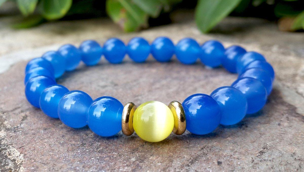 Mens Sky Blue Agate Natural Stone Bracelet, Yellow Cats Eye Gemstone Bracelet, Gold Bracelet  https:// seethis.co/6mnXd/  &nbsp;   #handmade #uksopro<br>http://pic.twitter.com/ojv6Ykfewo