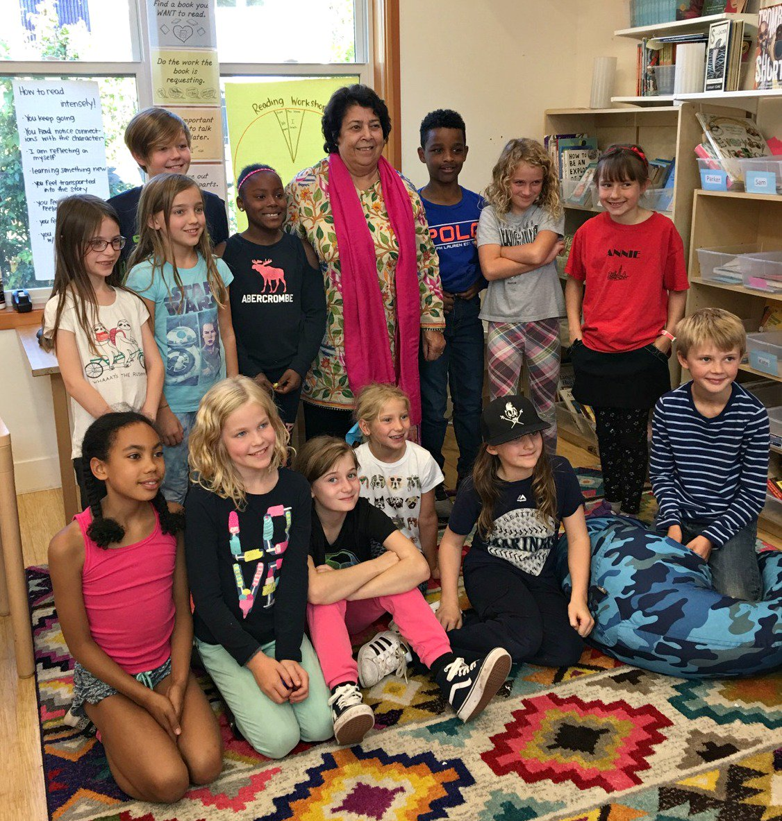 Razia Jan had a wonderful time visiting with young friends at the Valley School in #Seattle today! #Afghanistan #education #globalvillage <br>http://pic.twitter.com/abFB3Qd6as