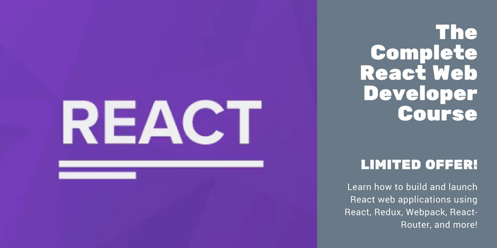 BRAND-NEW The Complete React Web Developer Course  http:// codingthesmartway.com/courses/react- complete/ &nbsp; …  - $15 LIMITED #react #reactjs #webdev #frontend #javascript #ad<br>http://pic.twitter.com/xHbnROeIY0