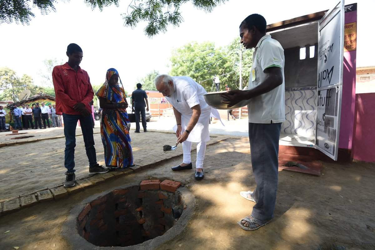 As a part of #SwachhataHiSeva movement, did Shramdan for the construction of a twin pit toilet at Shahanshahpur, Varanasi.