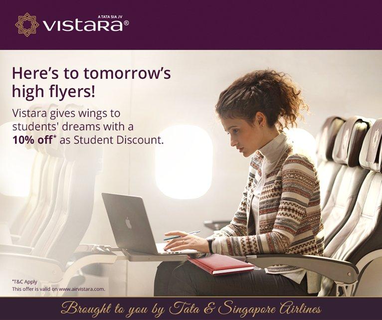 vistara on twitter flythenewfeeling with vistara student discount